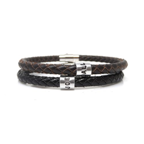 Customised Leather Bracelet with Hand Stamped Ring - Free Delivery